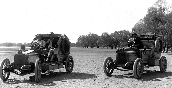 'Angelina' (left) with Dutton driving & Allchurch, and 'Overlander' with Aunger at the wheel. Love the respectable clothing attire - with a coat and tie!