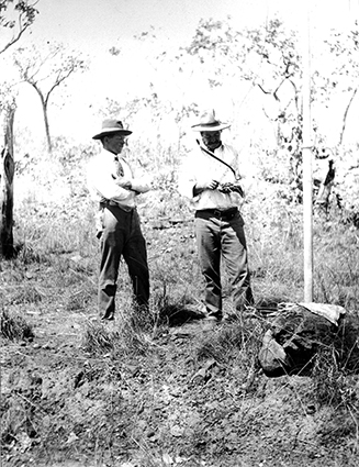 Allchurch tapping the Overland Telegraph Line to communicate with Darwin - luckily he was a telegraph station master