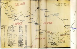 Hand-drawn map showing the route, distances each day, dates and hotels.