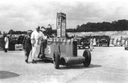 Mike Couper with BGH23 at Brooklands