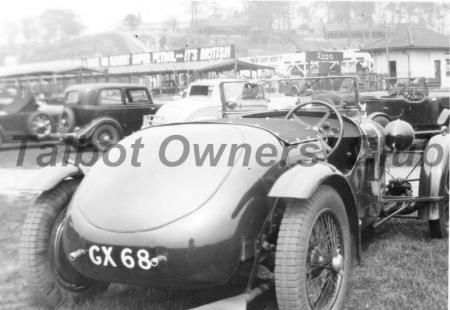 Talbot 90 GX68 at Brooklands, with Test Hill in background.