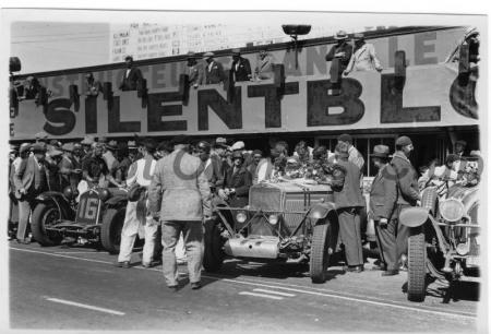 Le Mans 1931 with 3rd-placed GO53 between winning Alfa & 4th-placed Lorraine.